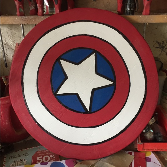 Solid Wood Captain America Shield Nwt
